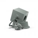 Fjöltengi SQUARE m/USB tengi,eikar grænn